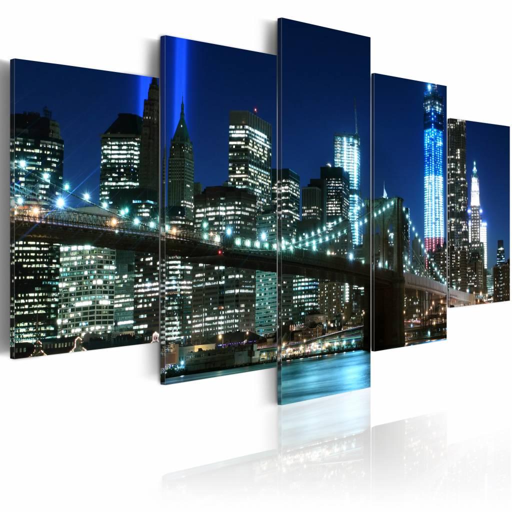 Schilderij - New York City - Stad in het Blauw, 5luik, premium print