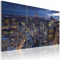 Schilderij - New York City - Bovenaanzicht in het Donker, Blauw, 3luik