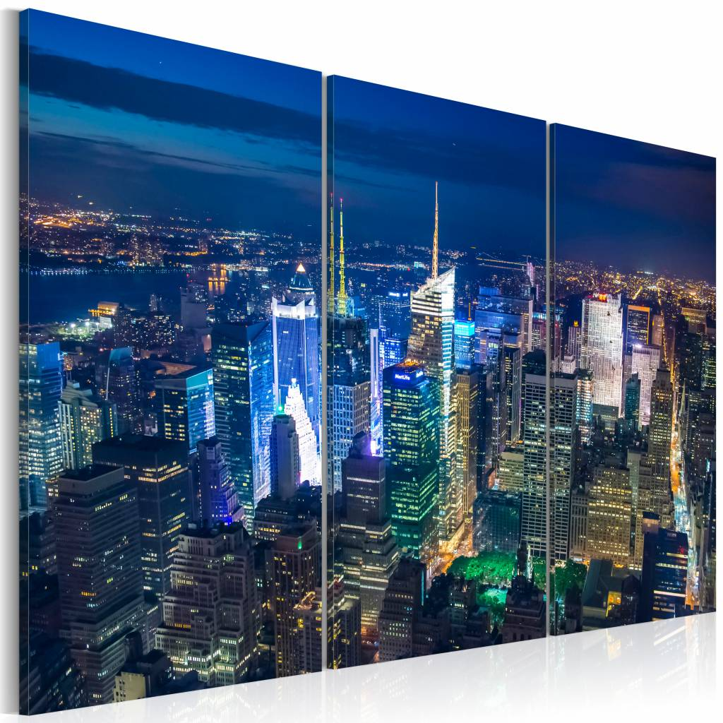 Schilderij - New York City - In het Donker, Blauw, 3luik