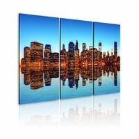 Schilderij - Duizenden lichtjes - New York, Blauw/Oranje, 2 Maten, 3luik
