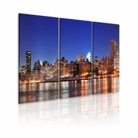 Schilderij - Duizenden lichtjes, New York City, Blauw, 2 Maten, 3luik