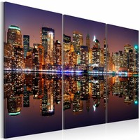 Schilderij - New York City - Water Reflectie, Multi-gekleurd, 3luik