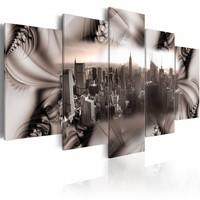 Canvas Schilderij - Stad van staal, New York, Zilver, 2 Maten, 5luik
