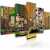 Canvas Schilderij - New York City, Cartoon, Multi-gekleurd, 2 Maten, 5luik
