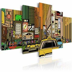 Schilderij - New York City, Cartoon, Multi-gekleurd, 2 Maten, 5luik
