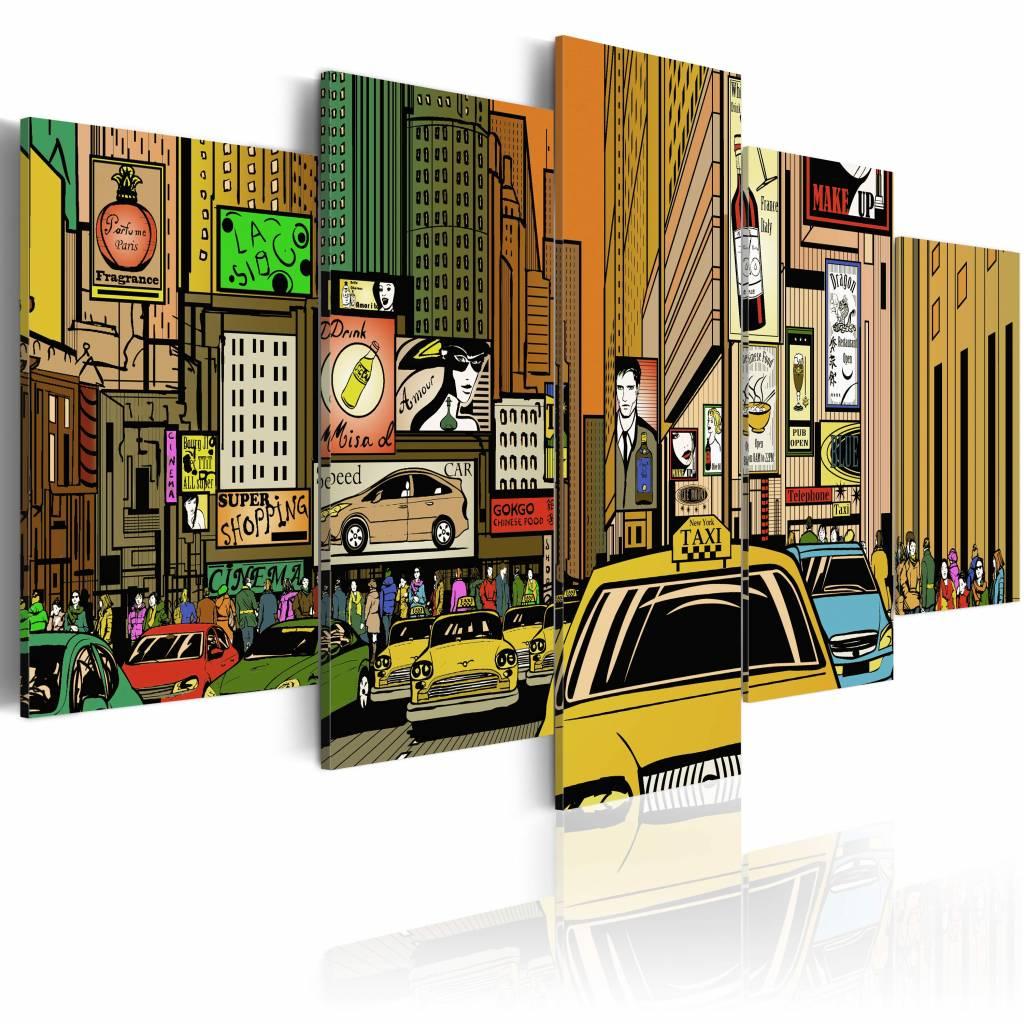 Schilderij - New York City - Cartoon, Multi-gekleurd, 5luik, premium print