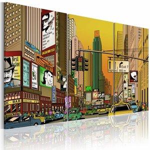 Schilderij - Cartoon New York, Multi-gekleurd, 2 Maten, 3luik