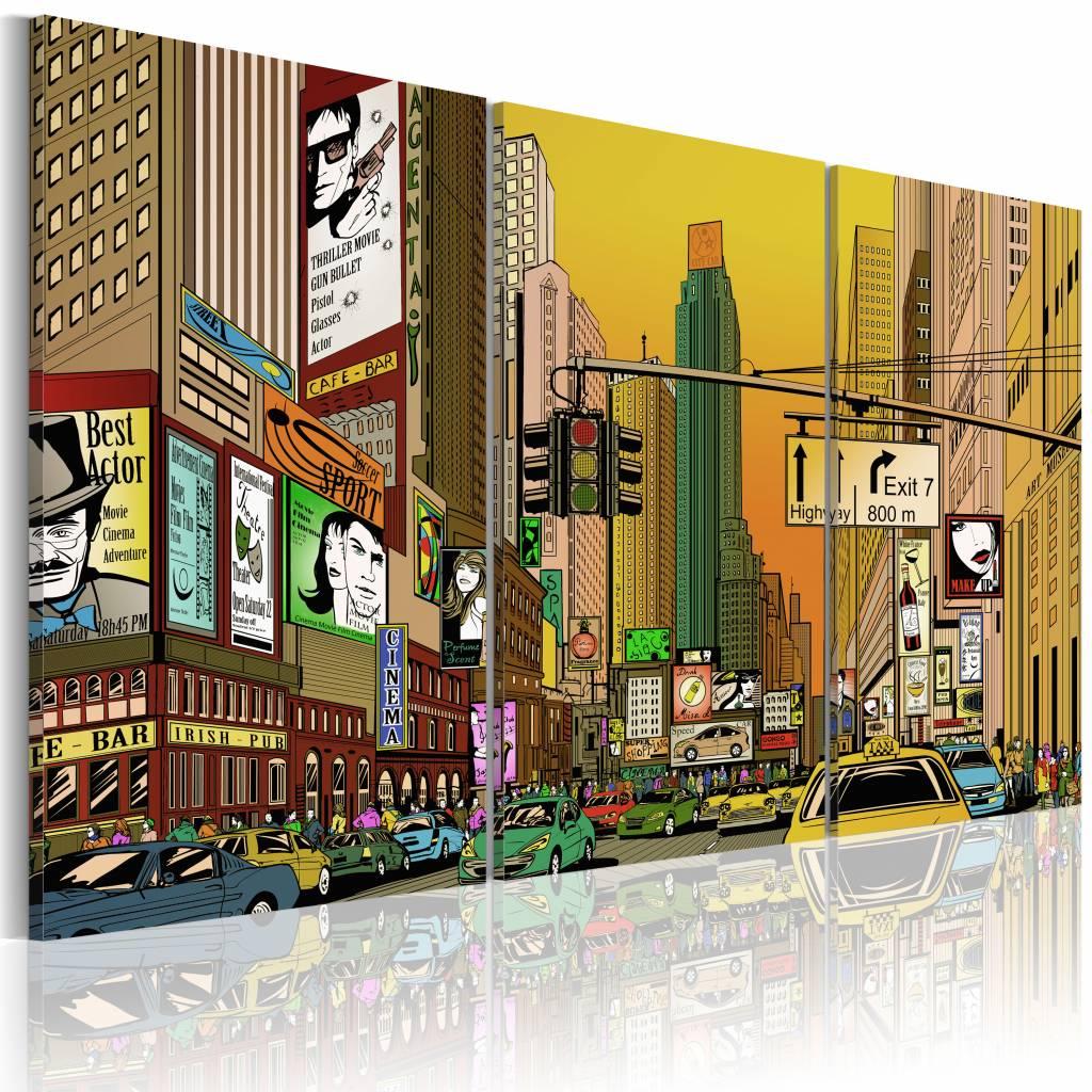 Schilderij - New York City - Cartoon II, Multi-gekleurd, 3luik