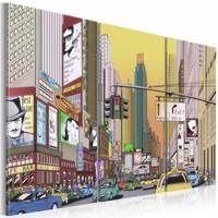 Canvas Schilderij - Cartoon city, New York, Multi-gekleurd, 2 Maten, 3luik