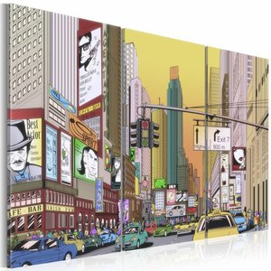 Schilderij - Cartoon city, New York, Multi-gekleurd, 2 Maten, 3luik