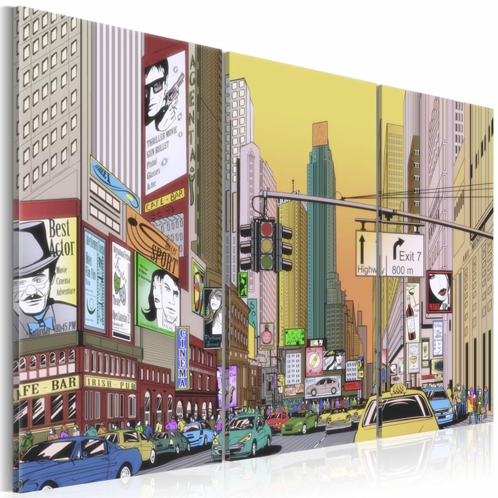 Schilderij - New York City - Cartoon III, Multi-gekleurd, 3luik, wanddecoratie