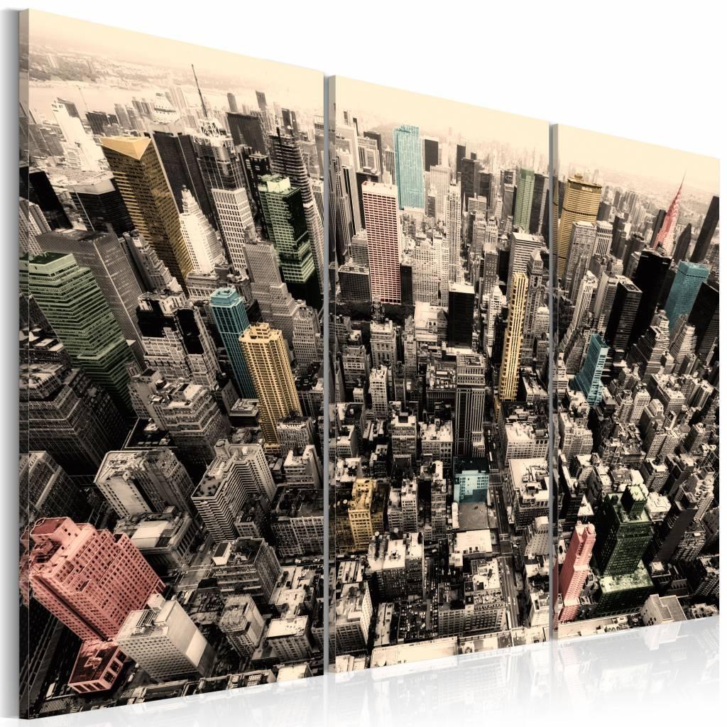 Schilderij - New York City - De hoogste gebouwen, Multi-gekleurd, 3luik