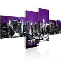 Schilderij - New York City - In de Nacht, Paars, 4luik, premium print