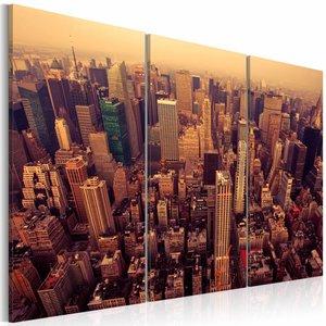 Canvas Schilderij - Zonsondergang in New York, Oranje, 2 Maten, 3luik