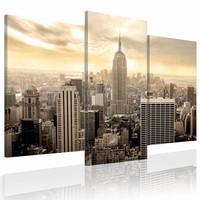 Schilderij - New York s' morgens, Beige, 2 Maten, 3luik