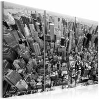 Schilderij - Schitterend uitzicht over de daken van New York, Zwart-Wit, 2 Maten, 3luik