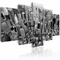 Schilderij - New York City - Wolkenkrabbers, Zwart-Wit, 5luik