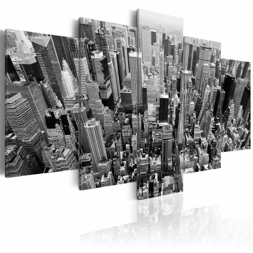 Schilderij - New York City - Wolkenkrabbers, Zwart-Wit, 5luik, premium print