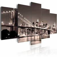 Canvas Schilderij - Manhattan - Brooklyn Bridge II, New York, Sepia, 2 Maten, 5luik