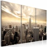 Schilderij - New York City - Prachtige Zonsondergang, Beige, 3luik