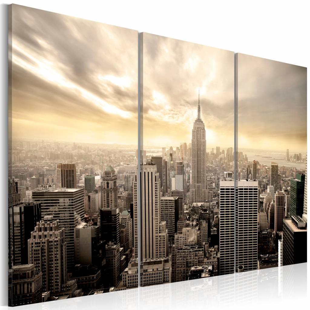 Schilderij - New York City - Prachtige Zonsondergang, Beige, 3luik, premium print