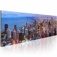 Schilderij - Manhattan beach and skyscrapers, Multi-gekleurd, 120X40, 1luik