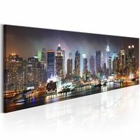 Schilderij - Witte reflectie's in New York  120x40cm, Multi-gekleurd , 1luik