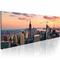 Schilderij - Zee van wolkenkrabbers - NYC, Oranje/Roze, 3 Maten, 1luik