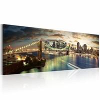 Schilderij - The East River  nachts, New York  120x40cm, Multi-gekleurd, 1luik