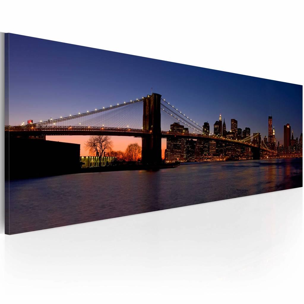 Schilderij - Brooklyn Brug - panorama, New York, Blauw/Oranje, 120X40 wanddecoratie