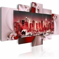 Schilderij - Licht in New York, Rood, 200X100, 5luik