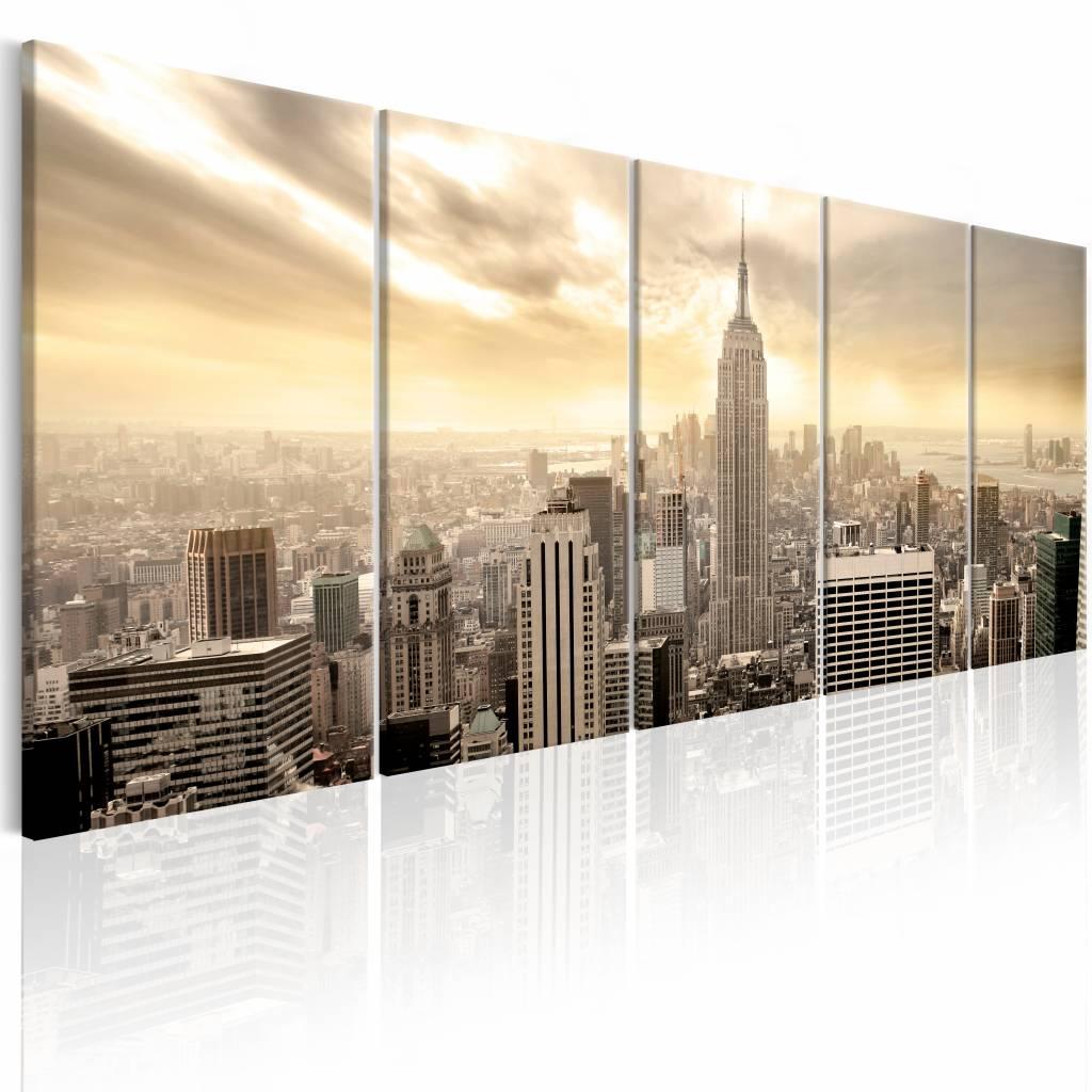 Schilderij - New York: Uitzicht op Manhattan , beige , 5 luik , 2 maten