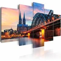 Schilderij - Avond in Keulen , multi kleur , 5 luik