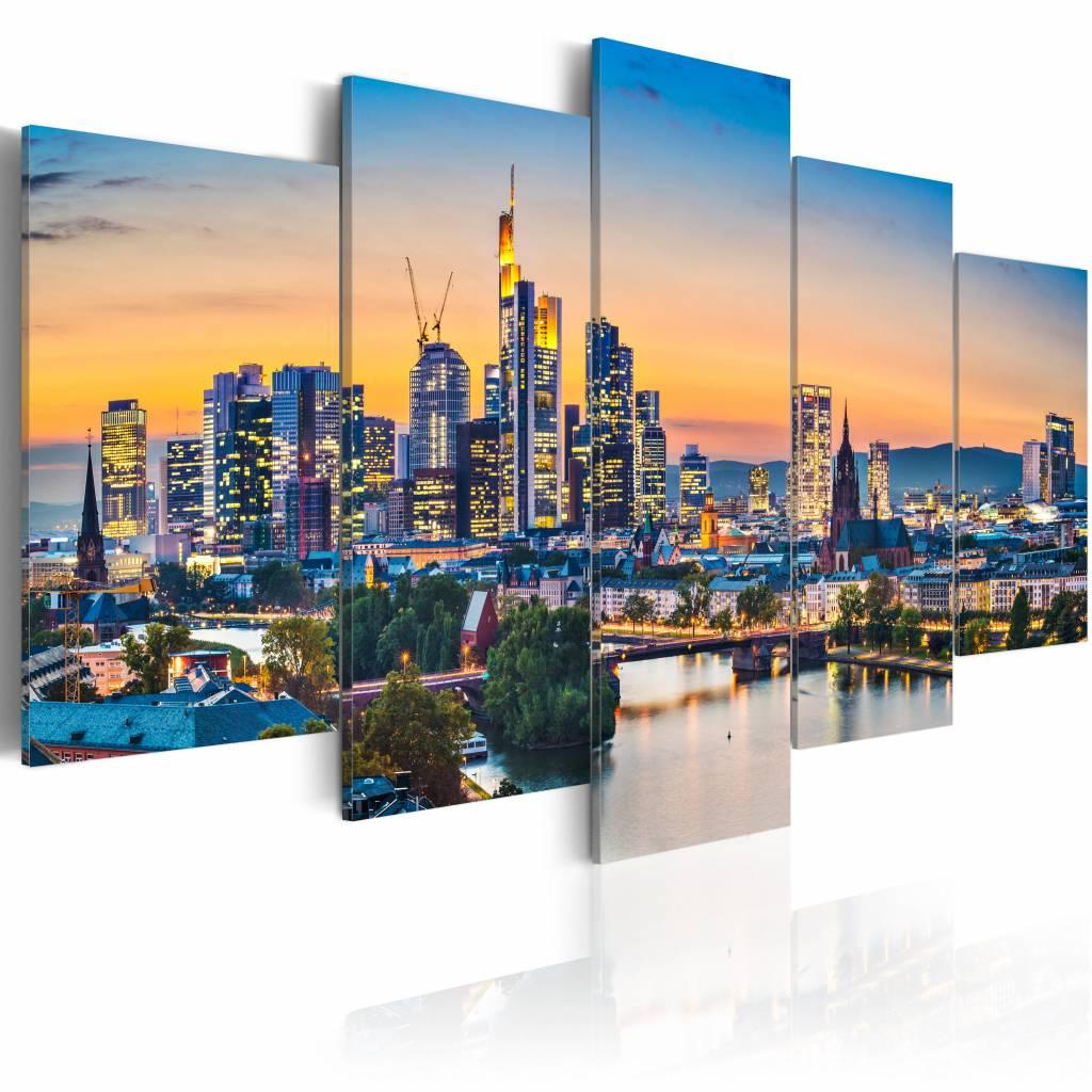 Schilderij - Frankfurt am Main, Duitsland , multi kleur , 5 luik , 2 maten