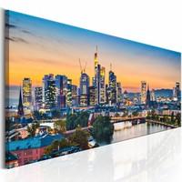 Schilderij - Avond in Frankfurt , multi kleur , 1 luik