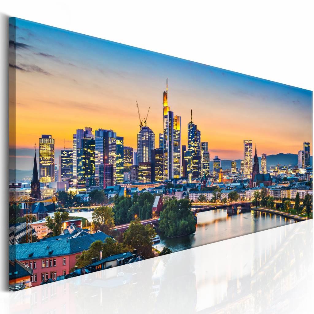 Schilderij - Avond in Frankfurt , multi kleur , 1 luik , 2 maten