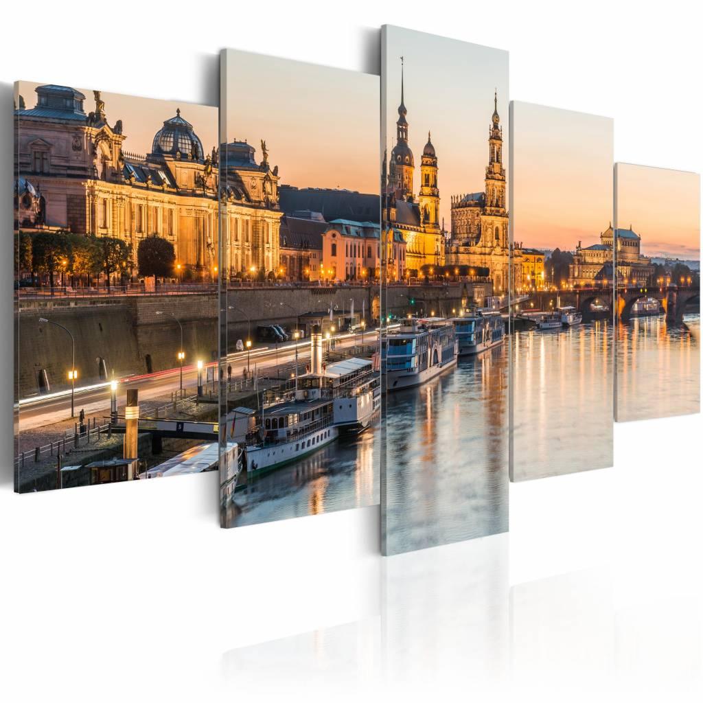 Schilderij - Dresden, Duitsland , bruin , 5 luik , 2 maten
