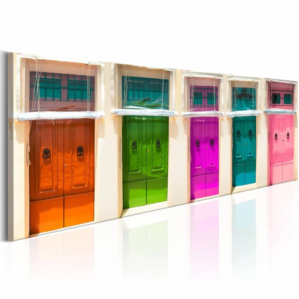Schilderij - Kleurrijke deuren 150X50 , multi kleur , 1 luik