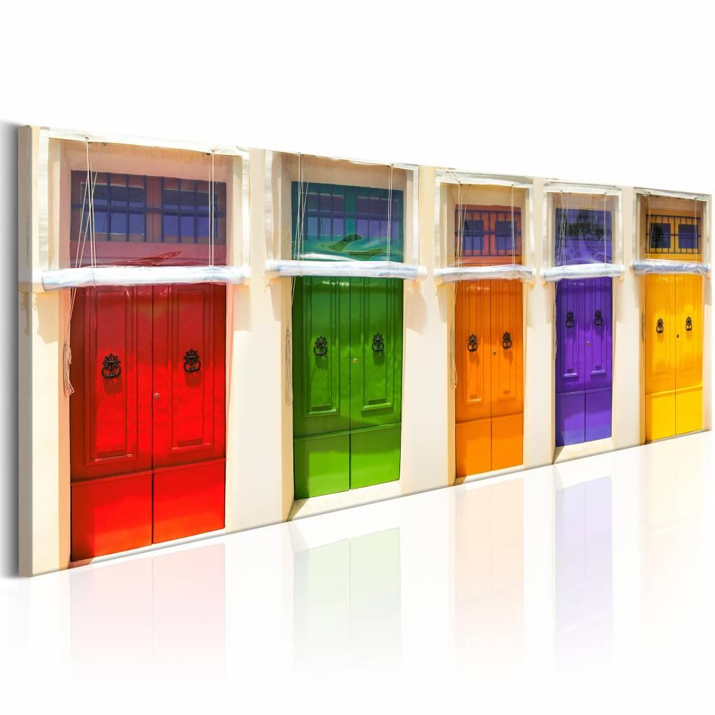 Schilderij - Stadse Kleuren 150X50 , multikleur , 1 luik