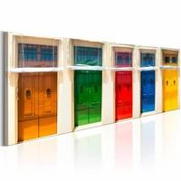 Canvas Schilderij - Gekleurde deuren, Multi-gekleurd, 3 Maten, 1luik