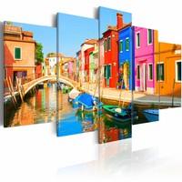 Schilderij - Waterfront in regenboog kleuren, 5luik