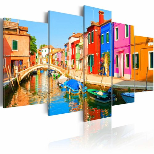 Schilderij - Waterfront in regenboog kleuren, 5luik, wanddecoratie