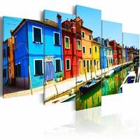 Canvas Schilderij - Huizen in de kleuren van de regenboog, 2 Maten, 5luik