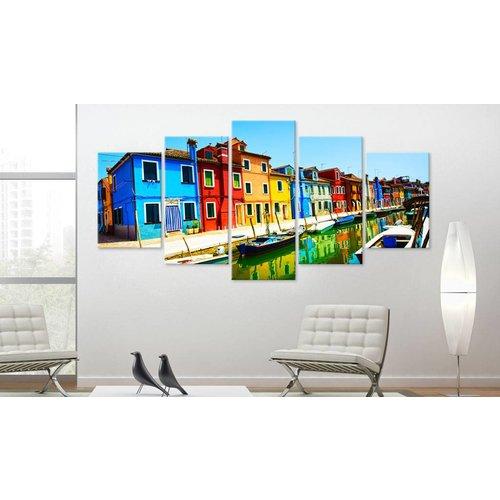 Schilderij - Huizen in de kleuren van de regenboog, 5luik