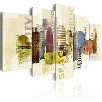 Schilderij - The City, Urban design, Multi-gekleurd, 2 Maten, 5luik