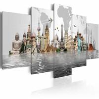 Schilderij - Verzameling van culturele monumenten, Multi-gekleurd, 2 Maten, 5luik
