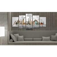 Schilderij - Culturele monumenten, multi-gekleurd, 5luik, wanddecoratie