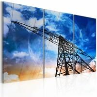 Canvas Schilderij - Energie, Blauw, 2 Maten, 3luik
