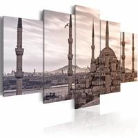 Schilderij - Moskee in het oosten , Grijs/Beige, 2 Maten, 5luik