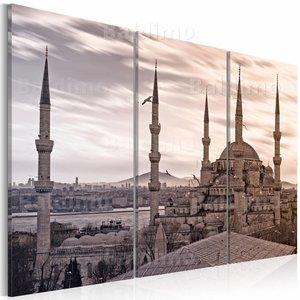 Schilderij - Moskee in het oosten  II, grijs/Beige, 2 Maten, 3luik